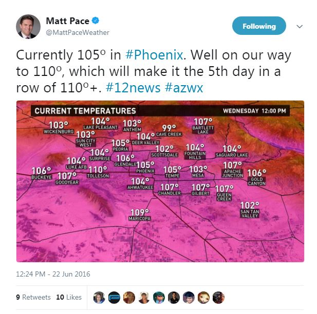 how hot heat Phoenix Arizona record temps summer summertime peak weather
