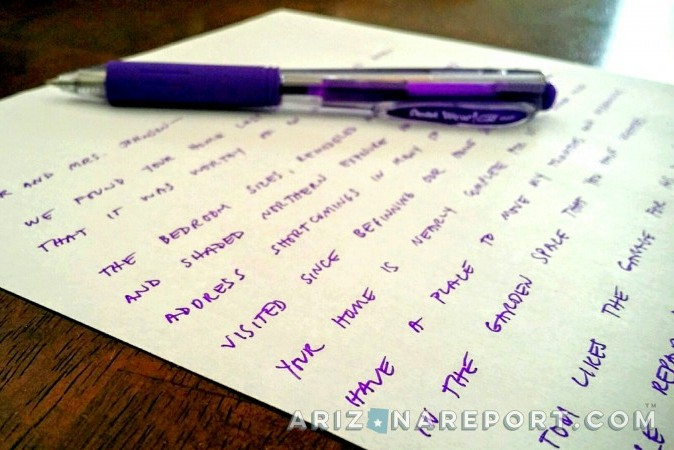 handwritten letter to a homeowner