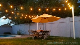how to hang sting lights or cafe lights outdoors