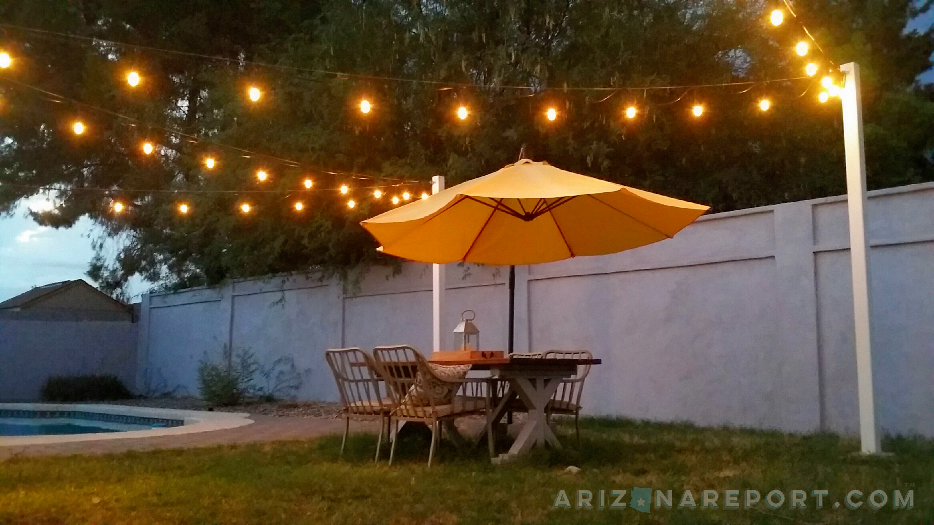 How to hang string lights and cafe lights the arizona report view larger image mozeypictures Gallery