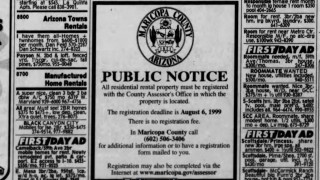 Arizona rental home registry public notice Arizona Republic newspaper July 1999