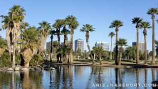 Encanto Park Lake Phoenix Arizona historical neighborhood palm trees skyline