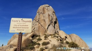 Tom's thumb trail hiking trailhead McDowell Sonoran Preserve Scottsdale Arizona best hikes