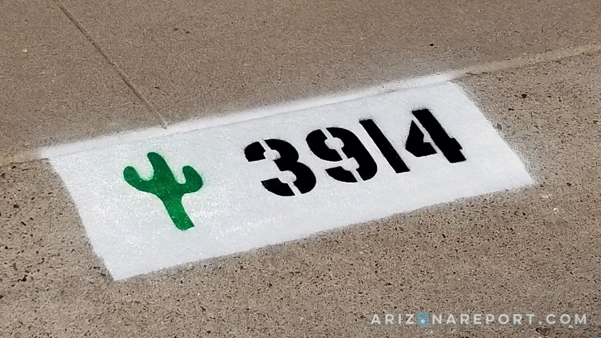 street curb paint number Phoenix cactus 911 delivery visibility