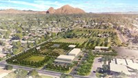Los Olivos Park aerial view Camelback drone proposed urban farm agriculture project