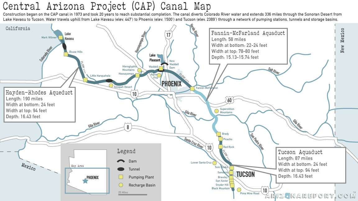 Central Arizona Project Map 10 CAP Facts: The Canal that Made Modern Arizona | The Arizona Report™