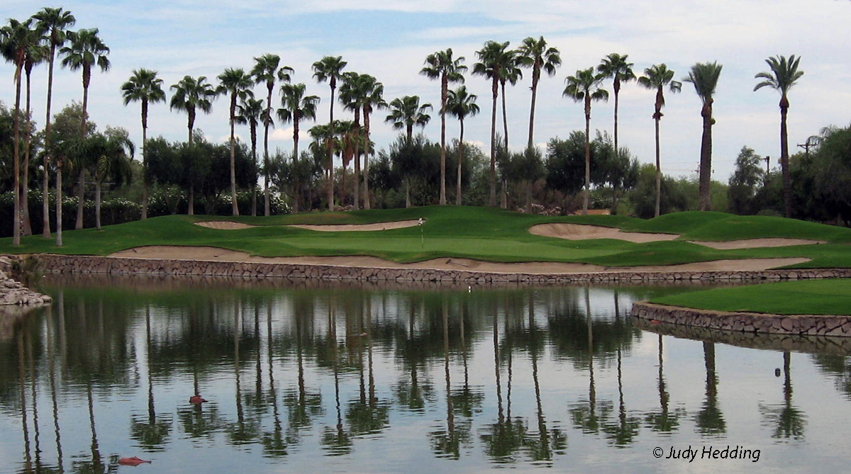 Phoenician golf hole 8 golfing palm trees green reflection water pond Phoenix Scottsdale Arizona resort