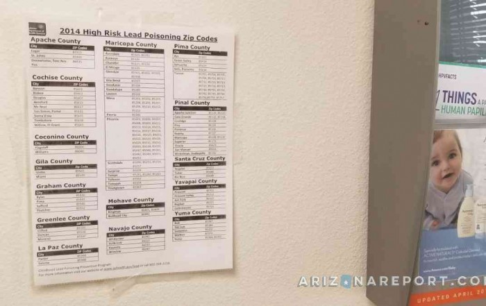 lead poisoning Phoenix Arizona pediatrician posting wall lead
