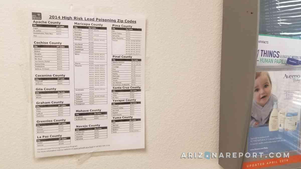 lead poisoning Phoenix Arizona pediatrician posting wall lead