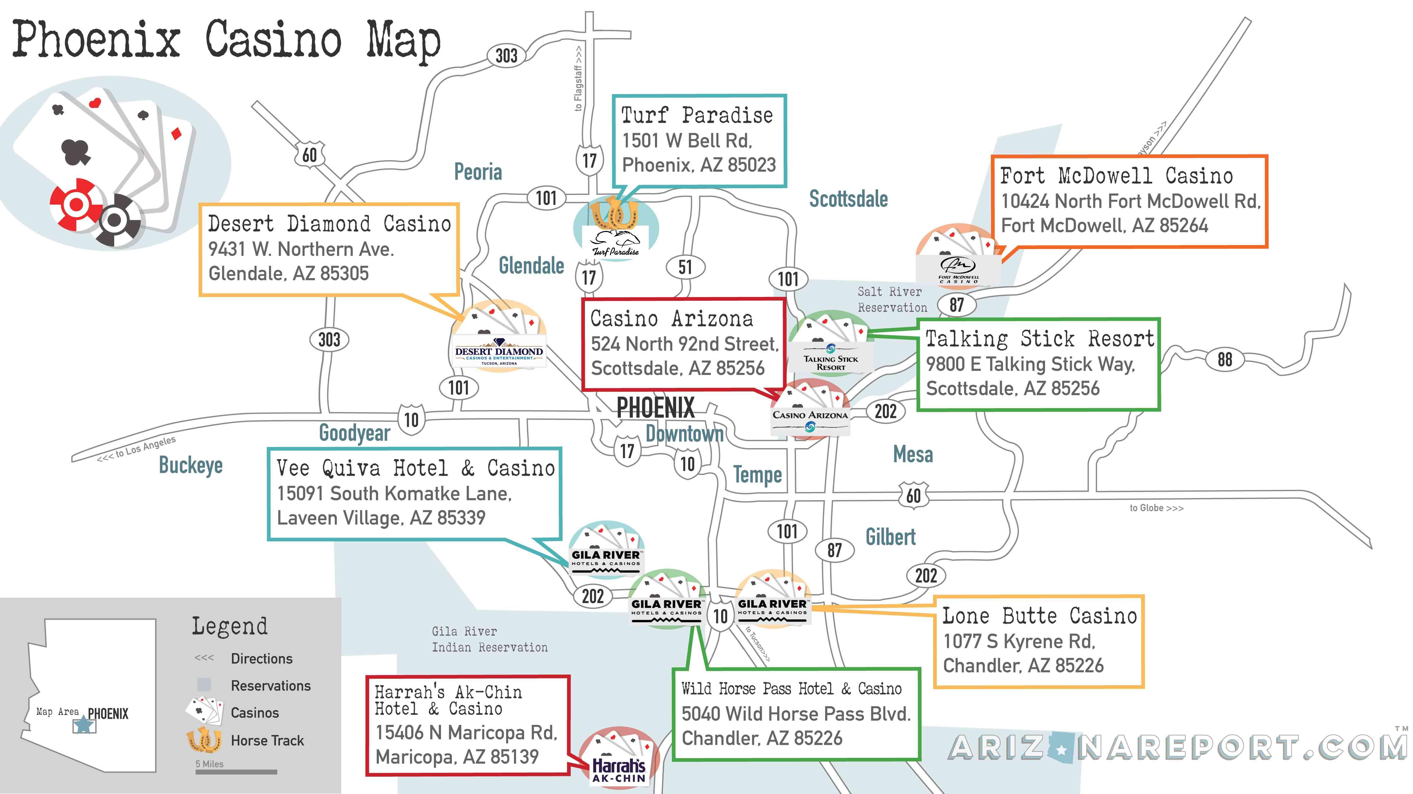 Phoenix casino map of the 8 tribal casinos and 1 horse racing track in metro Phoenix, Arizona.