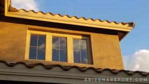 morning sunlight home house Anthem Arizona concrete tile stucco light window