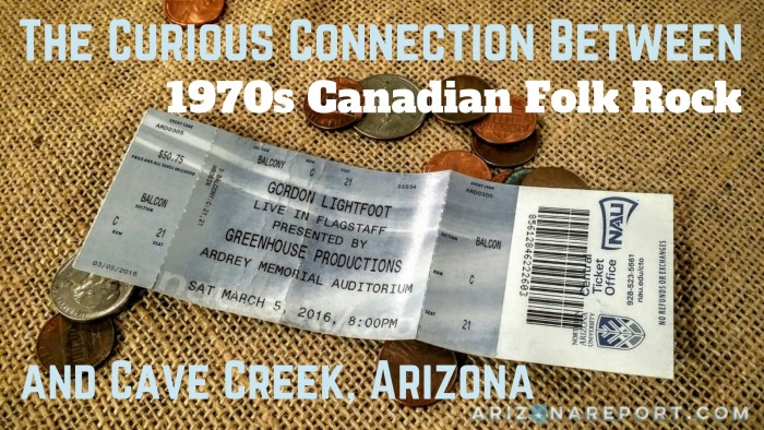 Gordon Lightfoot concert ticket Carefree Highway Arizona 74