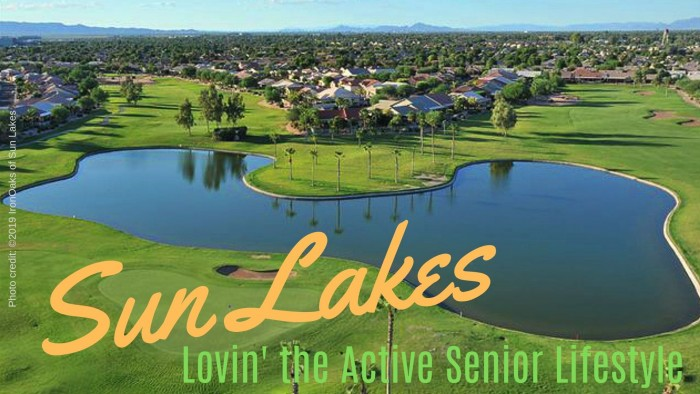 Aerial photo of pond, golf course and homes in Sun Lakes community near Phoenix Arizona