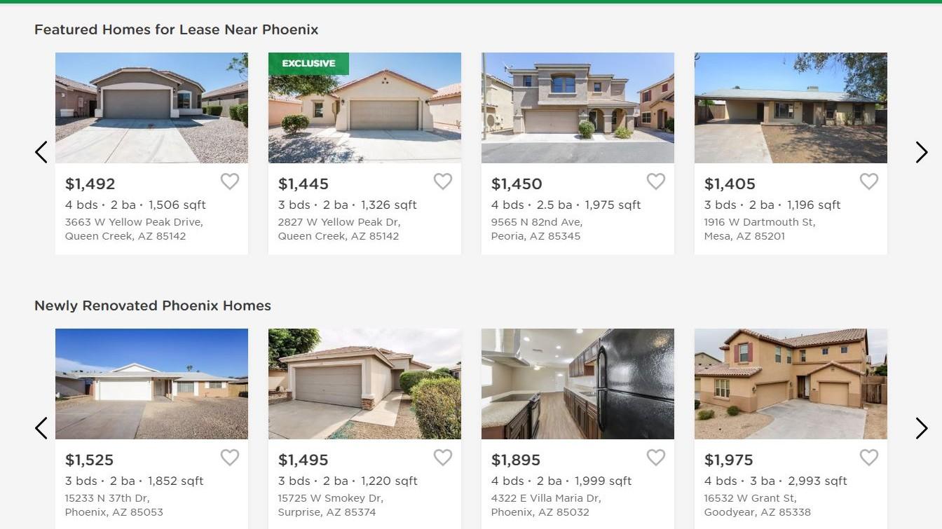 Invitation Homes leasing homes for rent Phoenix Arizona