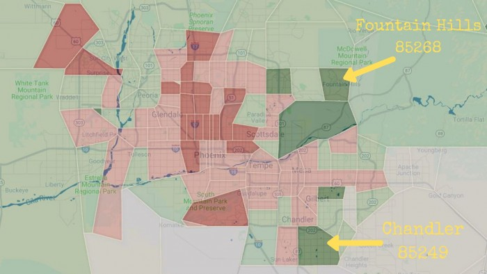 Phoenix Crime Map zip code ADT Fountain Hills Chandler
